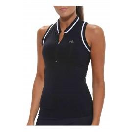 Camiseta Cuello Mao Pádel Mujer A120 Negro Emwey   Pádel y Tenis.